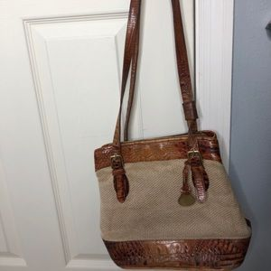 Leather and canvas Brahmin handbag